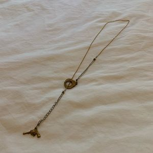 Jewelry - Gold gun and handcuffs adjustable lariat necklace